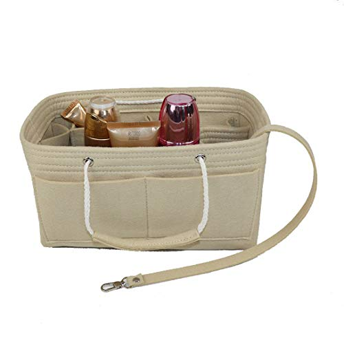 Purse Organizer Insert, Felt Insert Bag with Handle & Keychain Bag in Bag for Handbag Purse Organizer fits Speedy 30, Longchamps Tote Bag, Beige -