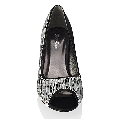 Heel On Bridal Peep Shoes Slip GLAM Heels Womens Black Mid ESSEX Party Satin Sparkly Toe cqnYH8cW