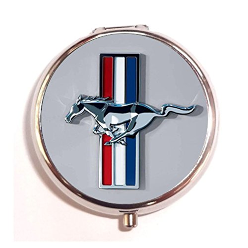 V6 Pony (Ford Mustang V6 Pony Custom Unique Silver Round Pill Box,Stainless Steel Pill Case Vitamins Organizer or Jewelry Box,Coin Purse)