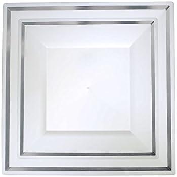 Amazon.com: Plexware Silver Rim Square Plastic Plates 40 Piece Set ...