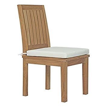 Modway EEI-2700-NAT-WHI Marina Premium Grade A Teak Wood Outdoor Patio Dining Side Chair, Natural White
