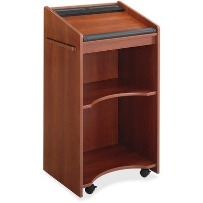 Safco 8918 Executive Mobile Lectern - Rectangle - 23.75quot; x 20quot; x 46quot; - Wood, Particleboard - Cherry