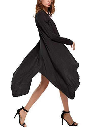 Slim Maglia A Giovane Irregular Di Autunno Moda marca Monocromo Elegante Moda Fit Cardigan Cappotto Color S Donna Moda Manica Lunga di Maglioni Lunghi Size Pullover Mode Dunkelgrau APq5dcw