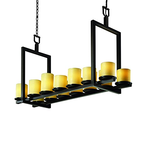 (Justice Design Group CandleAria 14-Light Chandelier - Dark Bronze Finish with Amber Faux Candle Resin Shade)