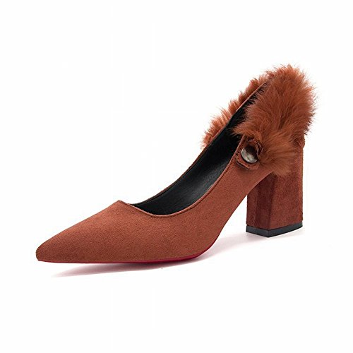 Commuter Pointed Hairy with High Heels Fashion Shoes , brown , EUR34.5