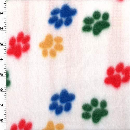 Multi Paw Print Fleece, Fabric by The - Fleece Paw Print Large