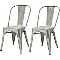 Joveco Sheet Metal Frame Tolix Style Stackable Industrial Bar Chairs with Back Gunmetal Set of 2, Wholesale Price