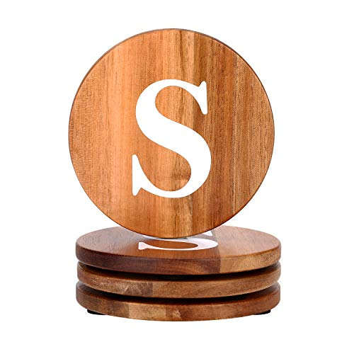 (Personalized Gifts Round Coaster Natural Acacia Wood Wooden Coaster Set of 4 for Drinks in Office, Home and Cottage, Bar, Restaurant, Wine Glasses, Cups& Mugs, Customizable with Name)