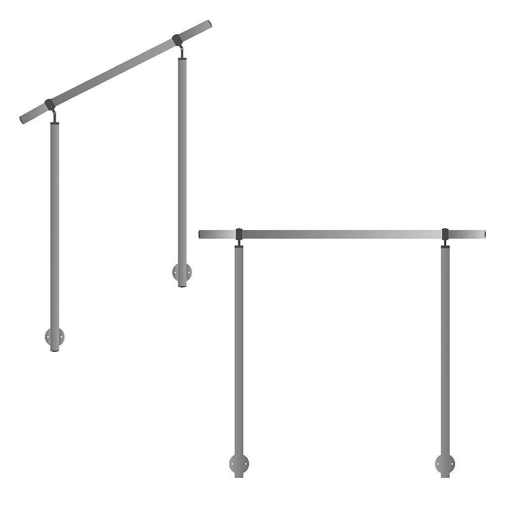 Gel/änder f/ür seitliche Montage an Treppen Balkone und Terrassen mit waagerechten Streben 140 cm mit 2 Pfosten ohne Querstreben 50mm