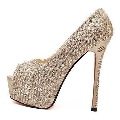 toeplattform Stiletto cirior dorado Mujeres High sintético Peep Heels tacón Pumps Mujer párrafos ggqTxnWfw