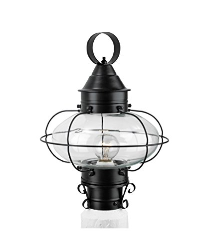 (Norwell 1321-BL-CL Cottage Onion 1 Light Outdoor Post Lamp in Black with Clear glass)