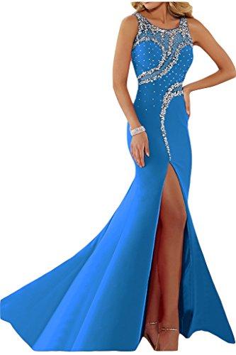 Abendkleid Festkleid Ivydressing Rundkragen Damen Blau Partykleid Steine Schlitz Luxurioes arwq0pgwPv