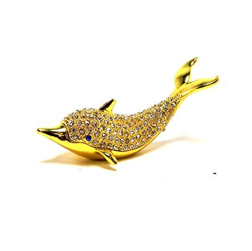 Sadek Dolphin Jeweled Trinket Box Gold with Clear Rhinestones on ()