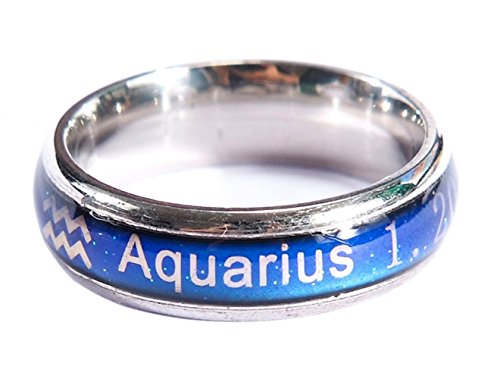 Acchen Mood Rings 12 Constellation Changing Color Emotion Feeling Finger Ring with Box -