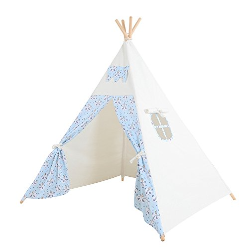 Kids Teepee Play Tent - 5' Feet Tall Large Handcrafted Indoor Indian Tent by Wonder Space, Ideal Activity Play Center Playroom for Toddlers and Children (Blue Panda) (Handmade Heritage Panels)