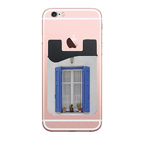 (Shutters Typical Greek Style Wooden Window 2 Pack Phone Card Holder,Adhesive Phone Wallet Stick-On Credit Card Sleeves Fits Most Cell Phones & Cases)