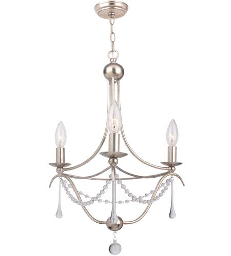 Mini Chandeliers 3 Light With Antique Silver Clear Glass Beads & Murano Crystal 15 inch 180 Watts - World of Lighting