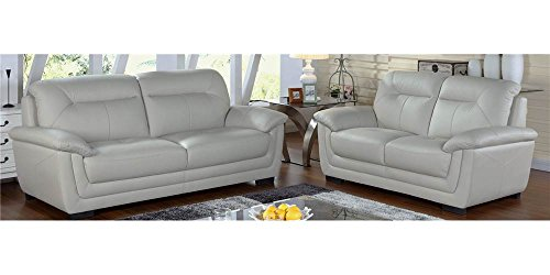 Sofa with Loveseat in Light - Leather Loft Sofa Set