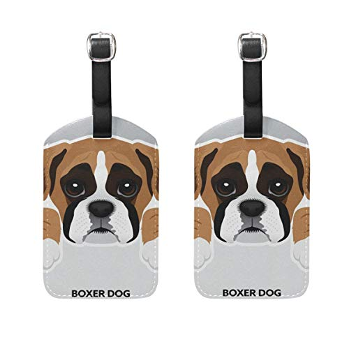 Cute Boxer Dog Luggage Tags Suitcase Labels Travel ID Identifier Privacy Cover Travel Accessories Set of 2