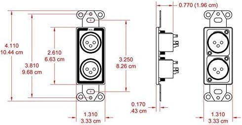 2 RDL D-XLR2M Dual XLR 3-pin Male Jacks on Decora Wall Plate-Solder Type