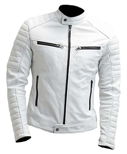 Sleekhides Men's Fashion Slimfit Real Leather Moto Jacket White 5X-Large by SleekHides