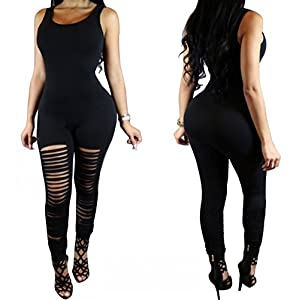 Dasbayla Women's Bodycon Jumpsuit Cut Out Hole Legging Rompers Outfit S-XL