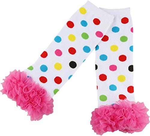 Sweet Ruffled Rainbow Polka Dot Legwarmers,Rainbow,One -