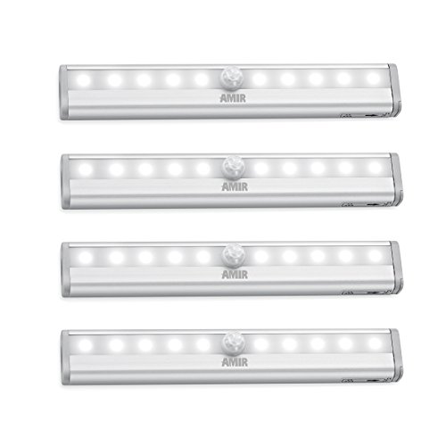AMIR 10 LED Motion Sensing Closet Lights, DIY Stick-on Anywhere Portable 10-LED Wireless Cabinet Night/ Stairs Light Bar with Magnetic Strip , Puck Lights (Battery Operated - 4 Pack )