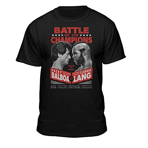 Teelocity Rocky Balboa Battle of The Champions Graphic T-Shirt (2XL - Standard Fit, Black)