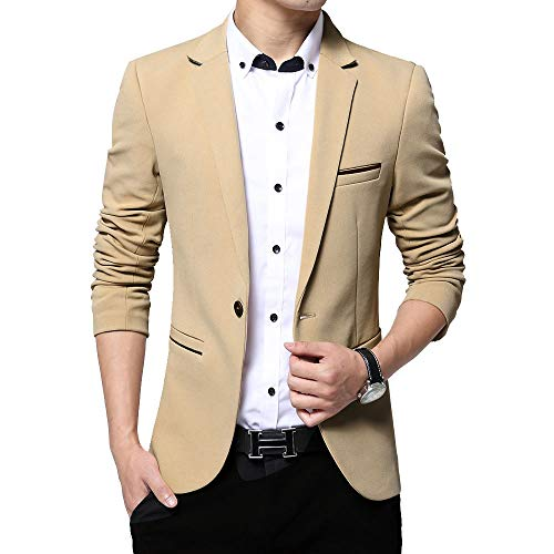 Khaki Sport Coat - KIMILILY Sports Jacket for Men Slim Fit One Button Blazer Jackets Casual Suit Coats Khaki