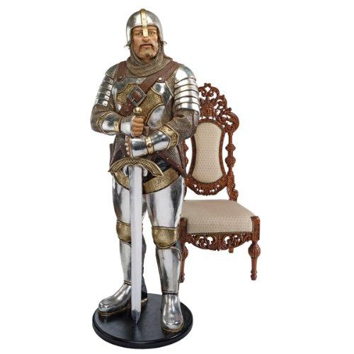 Standing Knight Figurine - 6ft Life Size Italian Medieval Knight Statue Sculpture Figurine