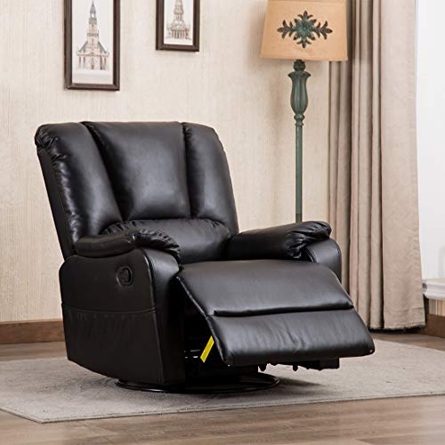 CANMOV Breathable Bonded Leather Single Rocker Recliner Sofa Chair with Padded Seat, Living Room Reclining Chair 360 Degree Swivel, Black