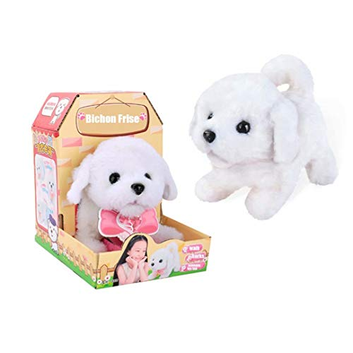 (qiaoniuniu Electronic Puppy Interactive Plush Dog Walking and Barking pet Toy Birthday for Toddlers Girls Boys Kids - Bichon Frise)