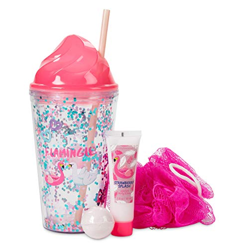 Simple Pleasures Let's Flamingle Glitter Hydration Insulated Cup Bath Gift Set - Includes Reusable Plastic Spill-Proof Tumbler with Lid & Straw, Pink Loofah, Scented Body Lotion and Bath Bomb