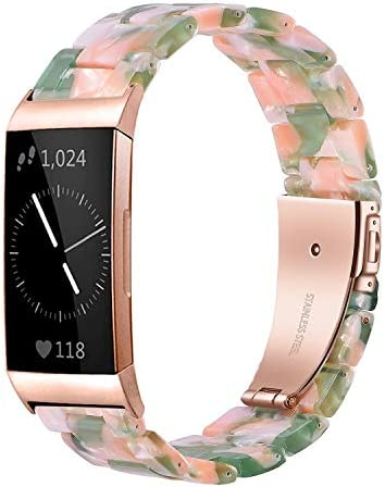 Wongeto Resin Bands Compatible for Fitbit Charge 4 / Charge 3 Bands and Charge 3 SE Band,Replacement Wrist Accessory Rose Gold Buckle Fitness Bands Straps Bracelet Wristbands Women Men (Pink Green)