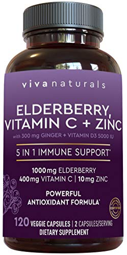 Elderberry, Vitamin C, Zinc, Vitamin D 5000 IU & Ginger Immune Support Supplement, 2 Month Supply (120 Capsules) – 5 in…