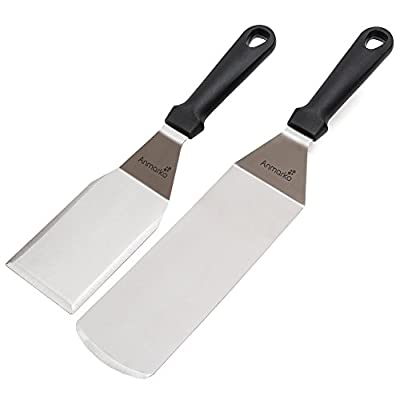 Metal Stainless Steel Spatula Set - Griddle Scraper and Pancake Flipper or Hamburger Turner - Stainless Steel Utensil great for BBQ Grill Flat Top - Commercial Grade by Anmarko