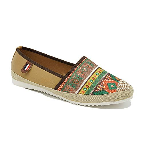 TheRightPair Women's Round Toe Slip on Loafers Multi Color Boho Striped Flats Casual Driving Shoes VE01 Brown ()