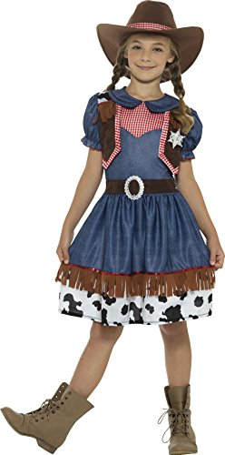 Girl Cowgirl Costumes (4-6 Years Blue Girls Texan Cowgirl Costume)