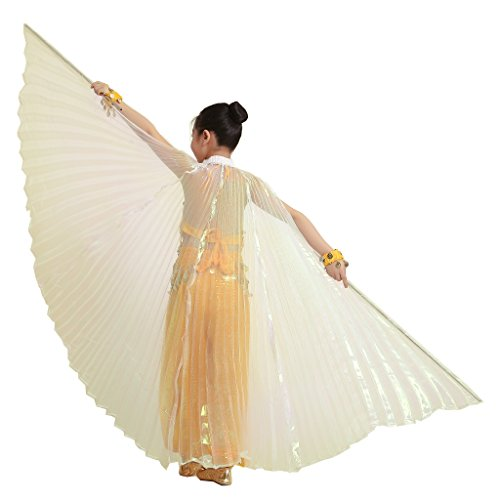 MUNAFIE Halloween Costumes Belly Dance Isis Wings for Children Kids White (With Sitcks and Bag) -