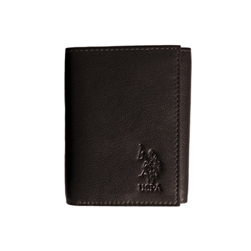U.S. Polo Assn. Antique Trifold Men's Crunch Leather Wallet, brown onesize