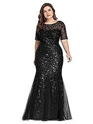 Plus Size Embroidery & Sequins Black Colour Maxi Dress