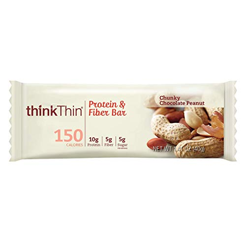 Protein & Fiber Bars by thinkThin - On The Go, Low Sugar, 10g Protein, 5g Fiber, Gluten Free, Non-GMO - Chunky Chocolate Peanut (10 Bars)