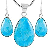 Sterling Silver with Genuine Turquoise Necklace & Earrings Set (SELECT COLOR) (Turquoise)