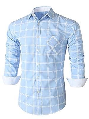 Emiqude Mens Casual Slim Fit Long Sleeve Pocket Constrast Plaid Dress Shirt