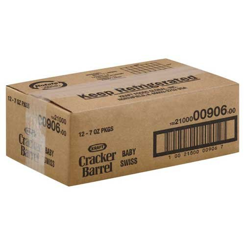 Cracker Barrel Natural Cheese-Chunks Baby Swiss, 7 Ounce -- 12 per case.