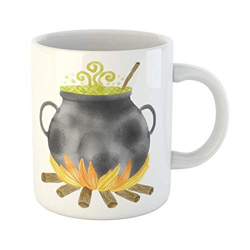 Semtomn Funny Coffee Mug Green Autumn Watercolor Witch Cauldron Potion Halloween Black Boiler 11 Oz Ceramic Coffee Mugs Tea Cup Best Gift Or Souvenir