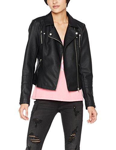 Only Onlgemma Faux Leather Biker OTW Noos, Blouson Femme Noir (Black Black)