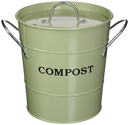 Exaco CPBG 01 1-Gallon 2-in-1 indoor Compost Bucket, Green