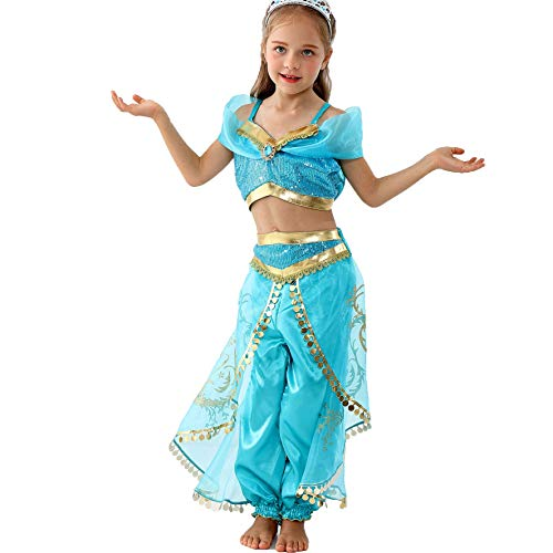 EGGPLANT Princess Jasmine Costume for Girls Toddler Kids Dress up /3T-8 (5T/120) Blue -